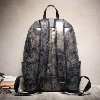 HAUT TON Design Printing Canvas Water Resistant Backpack - SILVER GREY SILVER GREY