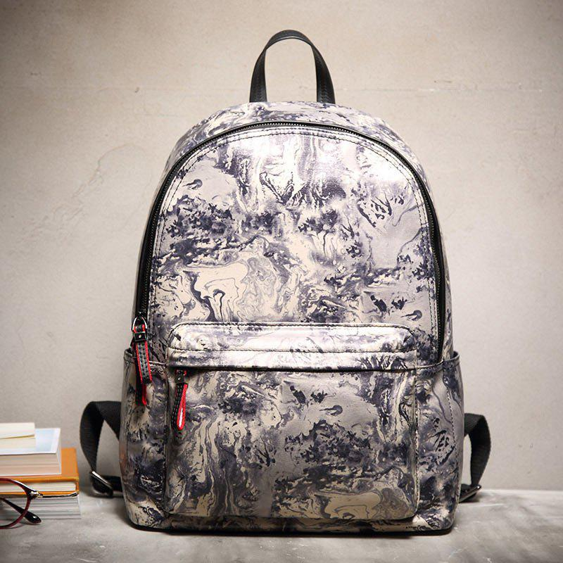 HAUT TON Design Printing Canvas Water Resistant Backpack - YELLOW/BLACK 30.3 X 14.2 X 40CM