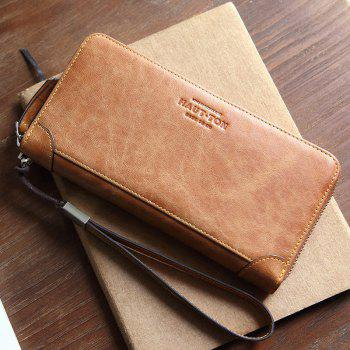 HAUT TON Men's Vintage Leather Clutch Bag Handbag Organizer Checkbook Wallet - YELLOW YELLOW