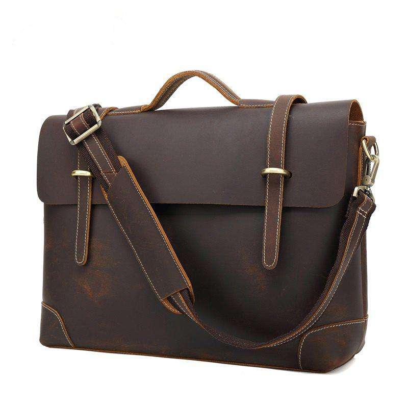 AUGUR Genuine Leather Men Shoulder Handbag Messenger Men Briefcase CrossBody Business Bag - DEEP BROWN