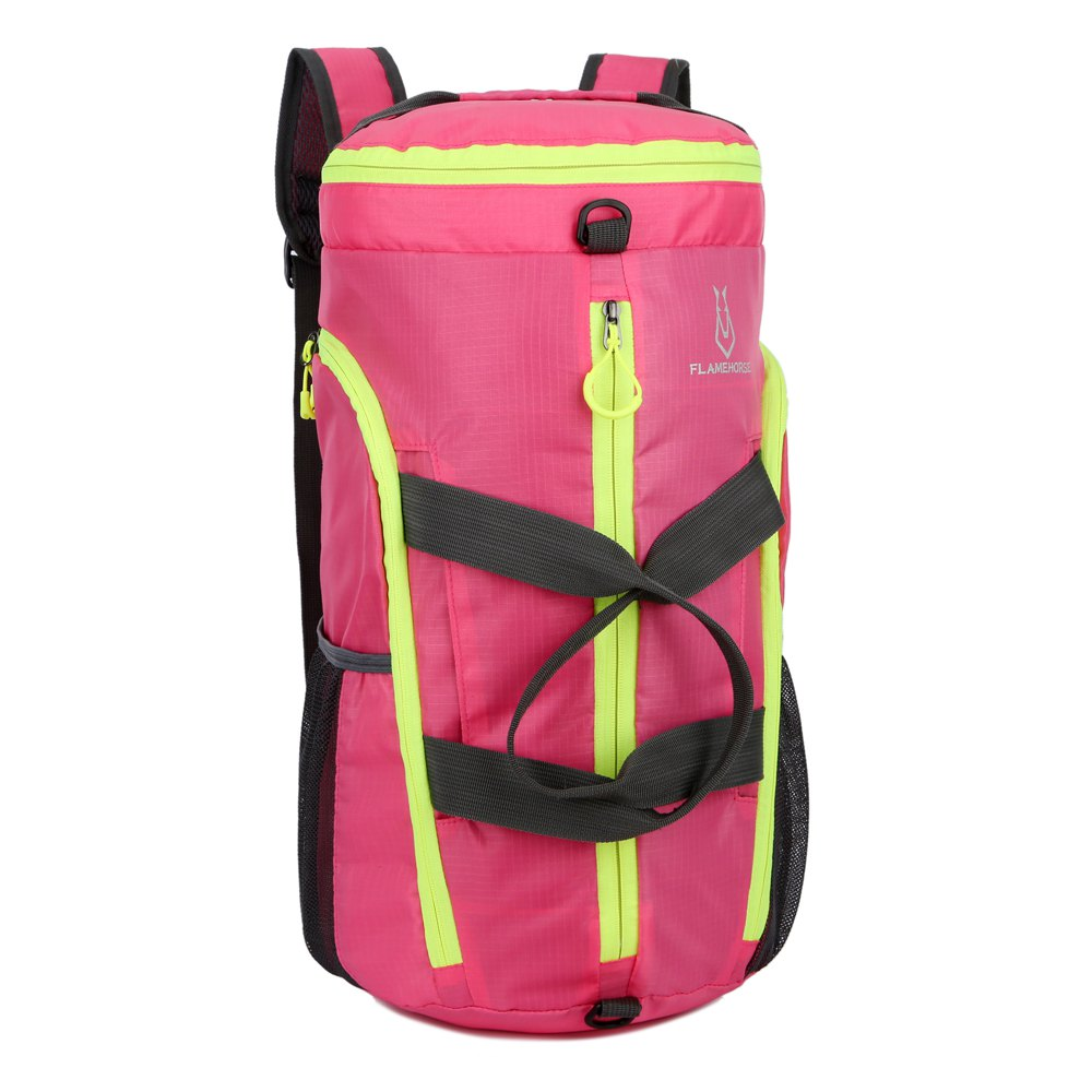 FLAMEHORSE Fold Bag Backpack Lightweight Pouch - ROSE RED