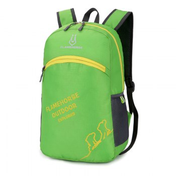 FLAMEHORSE Outdoor Foldbag Luminous Ultra Light Portable Waterproof Backpack -  GREEN