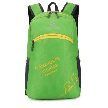 FLAMEHORSE Outdoor Foldbag Luminous Ultra Light Portable Waterproof Backpack - GREEN GREEN