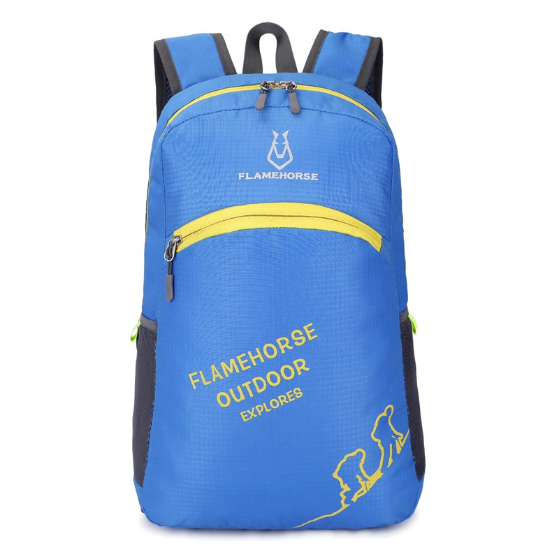 FLAMEHORSE Outdoor Foldbag Luminous Ultra Light Portable Waterproof Backpack - BLUE