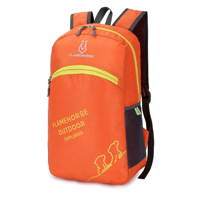 FLAMEHORSE Outdoor Foldbag Luminous Ultra Light Portable Waterproof Backpack - ORANGE