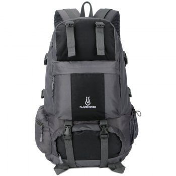 FLAMEHORSE Outdoor Mountaineer Bag 50L Large Capacity Nylon Waterproof Travel Backpack - BLACK BLACK