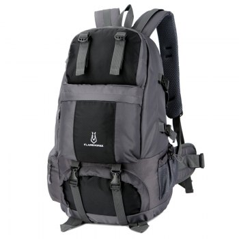 FLAMEHORSE Outdoor Mountaineer Bag 50L Large Capacity Nylon Waterproof Travel Backpack -  BLACK