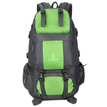 FLAMEHORSE Outdoor Mountaineer Bag 50L Large Capacity Nylon Waterproof Travel Backpack - GREEN GREEN