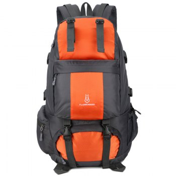 FLAMEHORSE Outdoor Mountaineer Bag 50L Large Capacity Nylon Waterproof Travel Backpack - ORANGE ORANGE