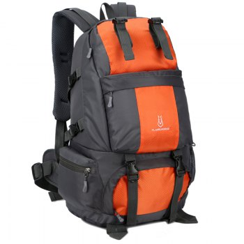 FLAMEHORSE Outdoor Mountaineer Bag 50L Large Capacity Nylon Waterproof Travel Backpack - ORANGE
