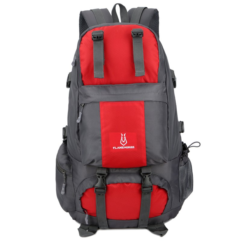 FLAMEHORSE Outdoor Mountaineer Bag 50L Large Capacity Nylon Waterproof Travel Backpack - RED