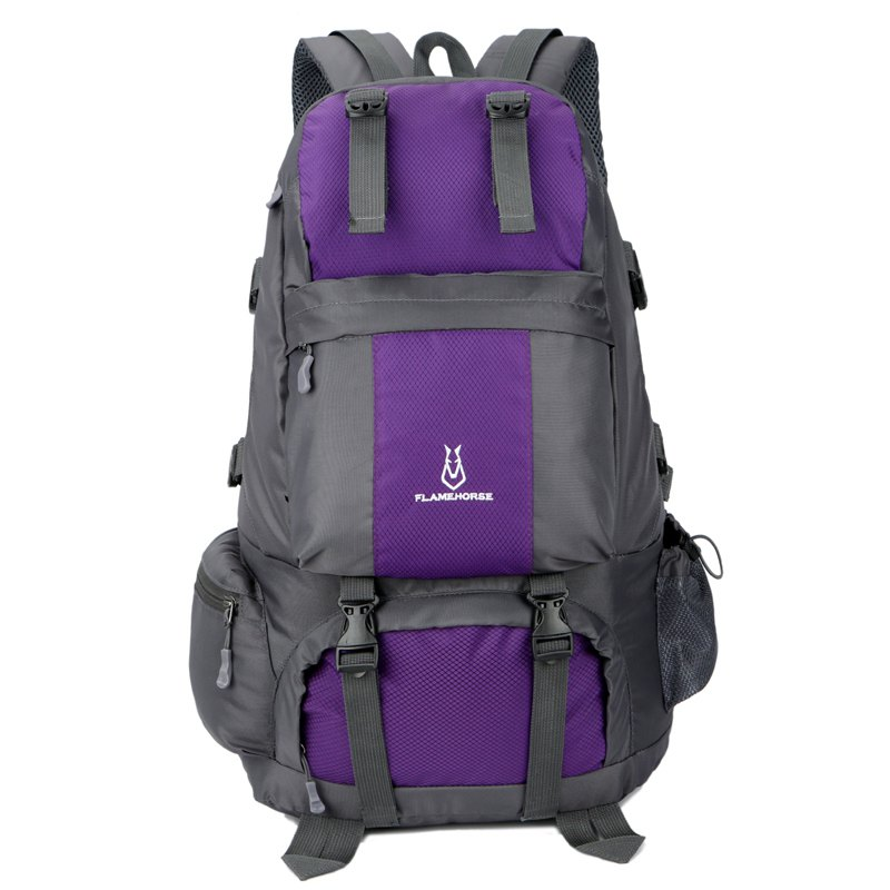 FLAMEHORSE Outdoor Mountaineer Bag 50L Large Capacity Nylon Waterproof Travel Backpack - PURPLE