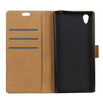 One Hundred Lines Wallet Stand Leather Phone Case For SONY L1 -  BLACK