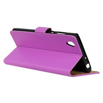 One Hundred Lines Wallet Stand Leather Phone Case For SONY L1 - PURPLE