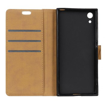 One Hundred Lines Wallet Stand Leather Phone Case For SONY XA1 -  BLACK