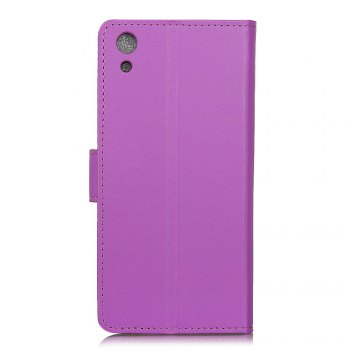 One Hundred Lines Wallet Stand Leather Phone Case For SONY XA1 - PURPLE