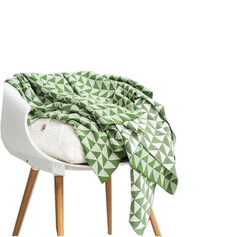 Pure Knitted Geometric Leisure Cotton Air Conditioning Cover Blanket - GREEN 130CM X 180CM
