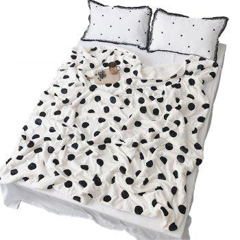 Double Plush Blanket with Wave Point Thickening - WHITE WHITE