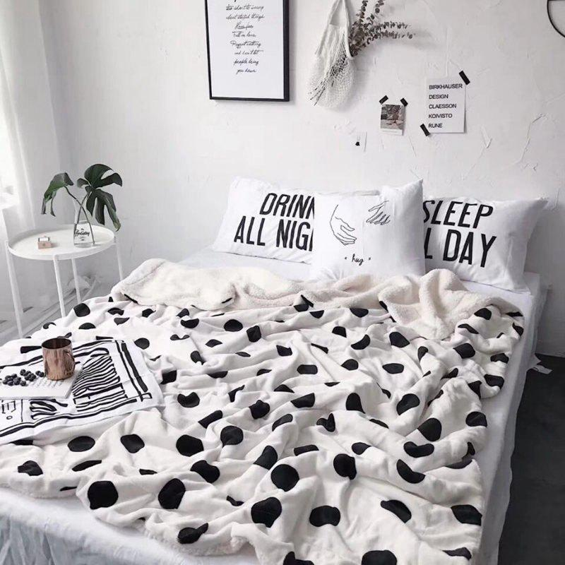 Double Plush Blanket with Wave Point Thickening - WHITE 200CM X 230CM