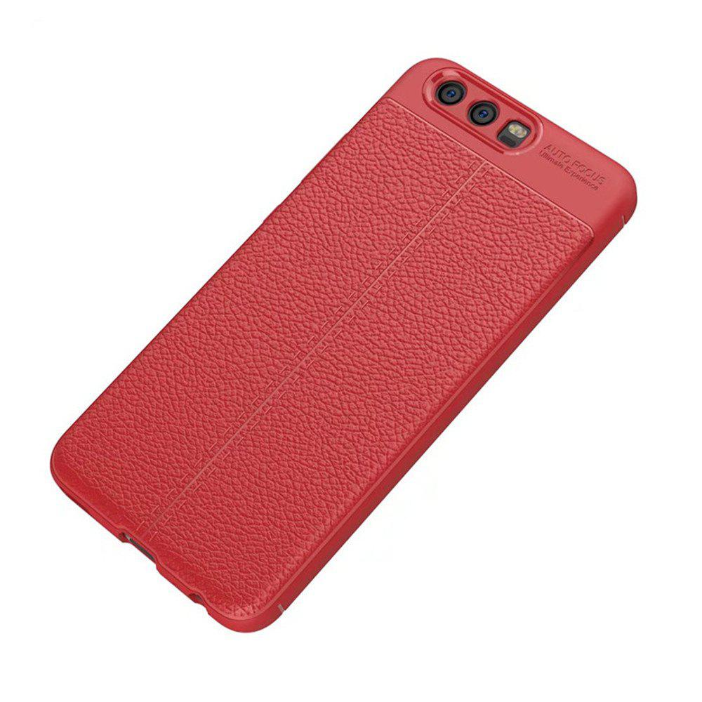 Super Silicone Sleeve Dermatoglyph Luxury Retro TPU Leather Case for HUAWEI P10 Plus - RED