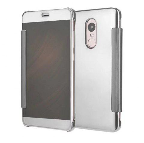 Luxury Mirror PU Leather Smart Flip hard Protective back cover Case for Xiaomi Red Rice 4X - SILVER