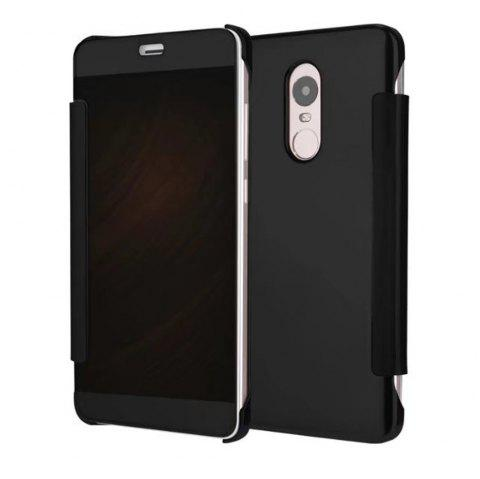 Luxury Mirror PU Leather Smart Flip hard Protective back cover Case for Xiaomi Red Rice 4X - BLACK