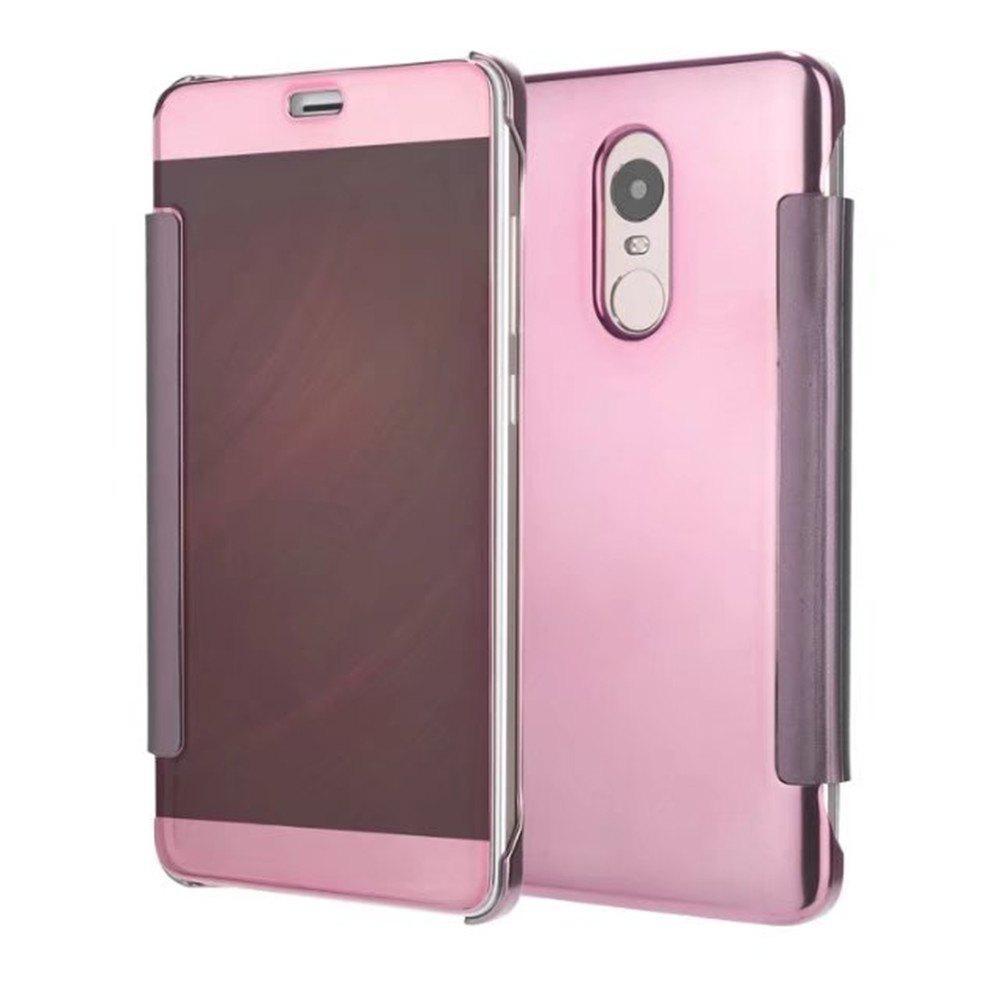 Luxury Mirror PU Leather Smart Flip hard Protective back cover Case for Xiaomi Red Rice 4X - PINK