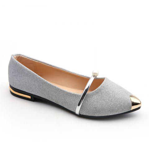 2019 Women Shoes Korean Style Flat Shoes In SILVER 37  bbaf819f630a