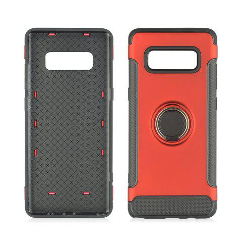 360 Degree Rotation TPU PC Carbon Fiber Support Ring  Mobile Phone Protection Shell Case for Samsung Galaxy Note 8 - RED