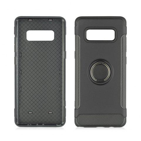 360 Degree Rotation TPU PC Carbon Fiber Support Ring  Mobile Phone Protection Shell Case for Samsung Galaxy Note 8 - BLACK