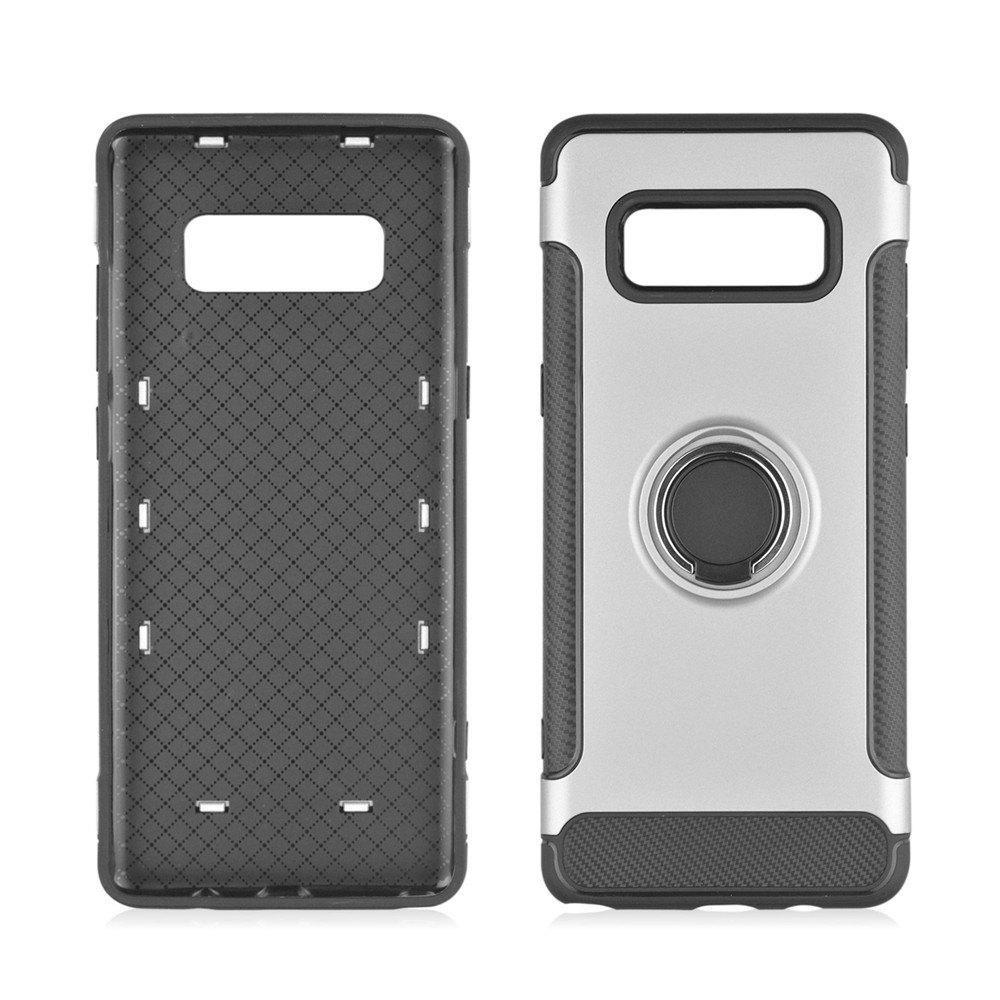 360 Degree Rotation TPU PC Carbon Fiber Support Ring  Mobile Phone Protection Shell Case for Samsung Galaxy Note 8 - SILVER