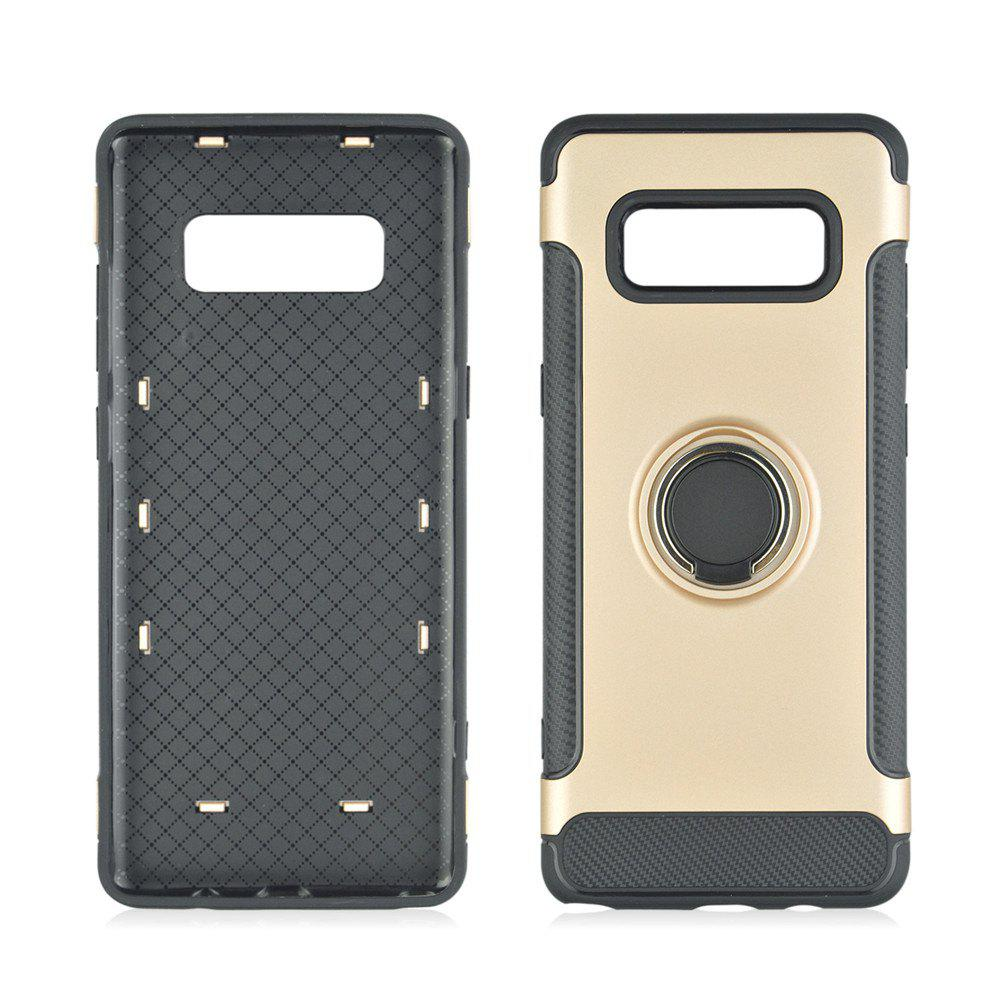 360 Degree Rotation TPU PC Carbon Fiber Support Ring  Mobile Phone Protection Shell Case for Samsung Galaxy Note 8 - GOLDEN