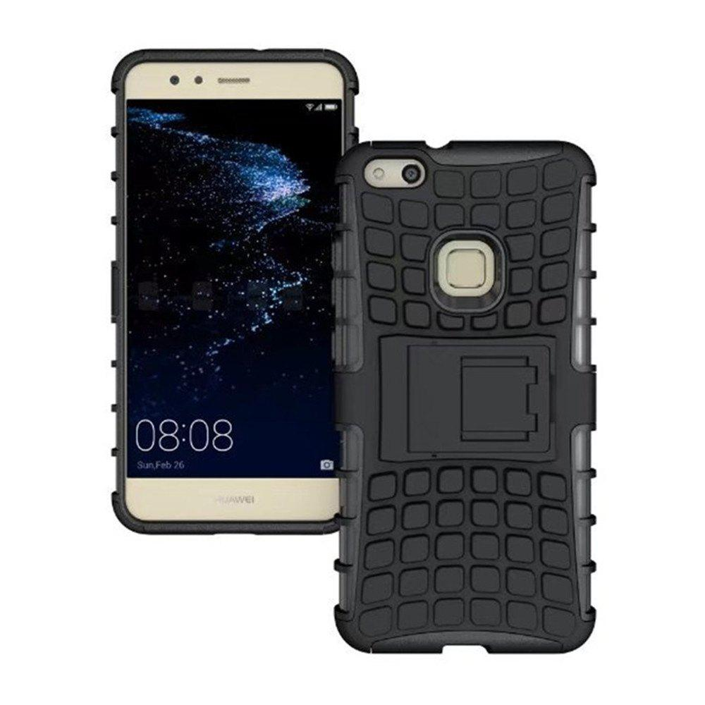 Rugged Spider Armor Heavy Duty Hybrid TPU Silicone Stand Impact Cover for Huawei P10 Lite Case - BLACK