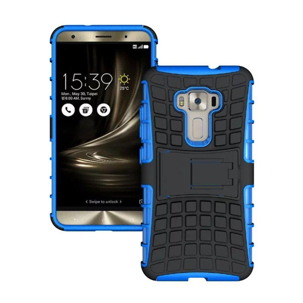 Rugged Spider Armor Heavy Duty Hybrid TPU Silicone Stand Impact Cover for Zenfone 3 ZE520 KL Case - BLUE