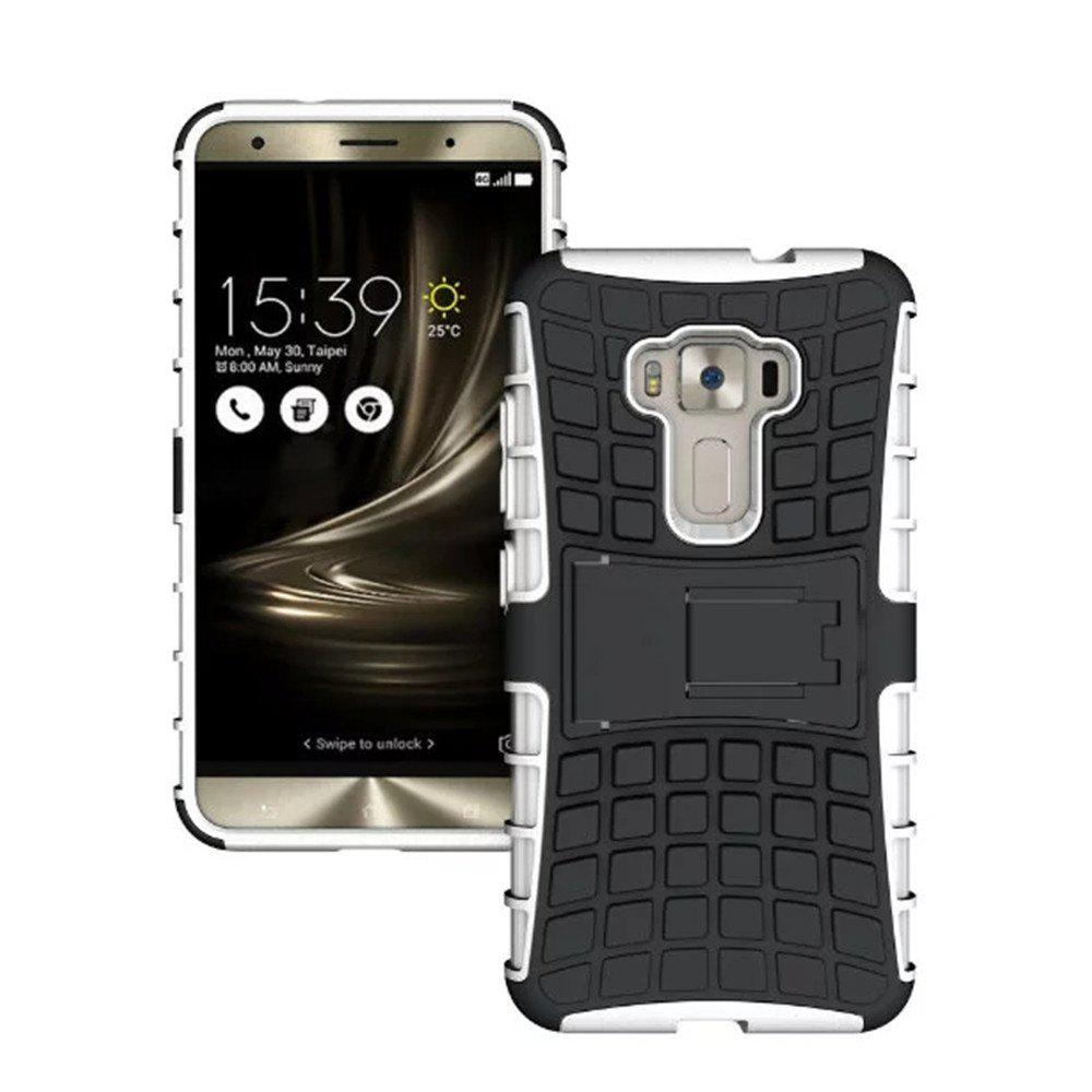 Rugged Spider Armor Heavy Duty Hybrid TPU Silicone Stand Impact Cover for Zenfone 3 ZE520 KL Case - WHITE