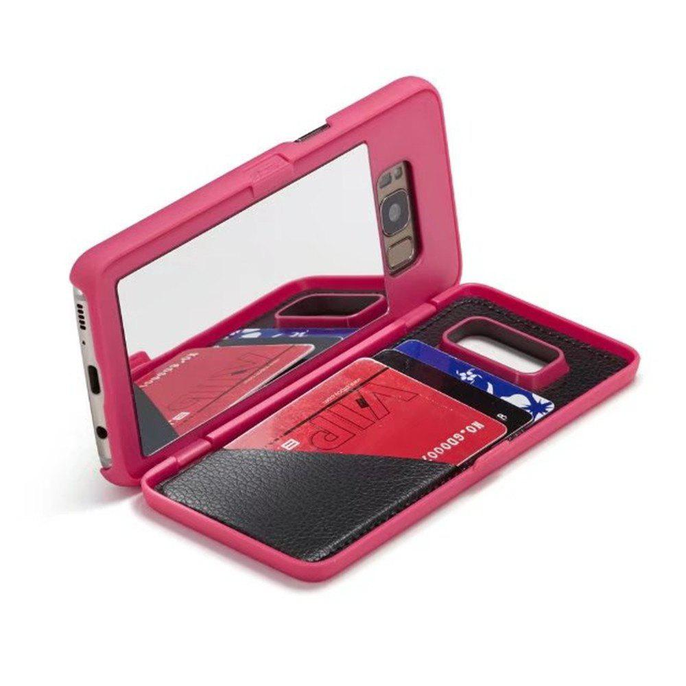 Luxury Mirror Flip Phone Cover for Samsung Galaxy S8 Plus Case Girl - ROSE RED