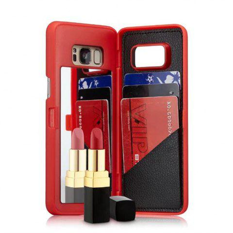 Luxury Mirror Flip Phone Cover for Samsung Galaxy S8 Case Girl - RED