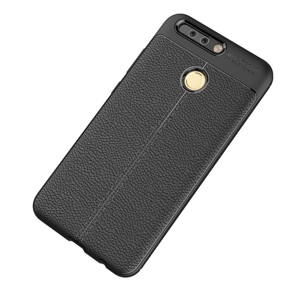 Luxury Leather Business Litchi Pattern PU Soft TPU Cover Case for Huawei Honor V9 - BLACK