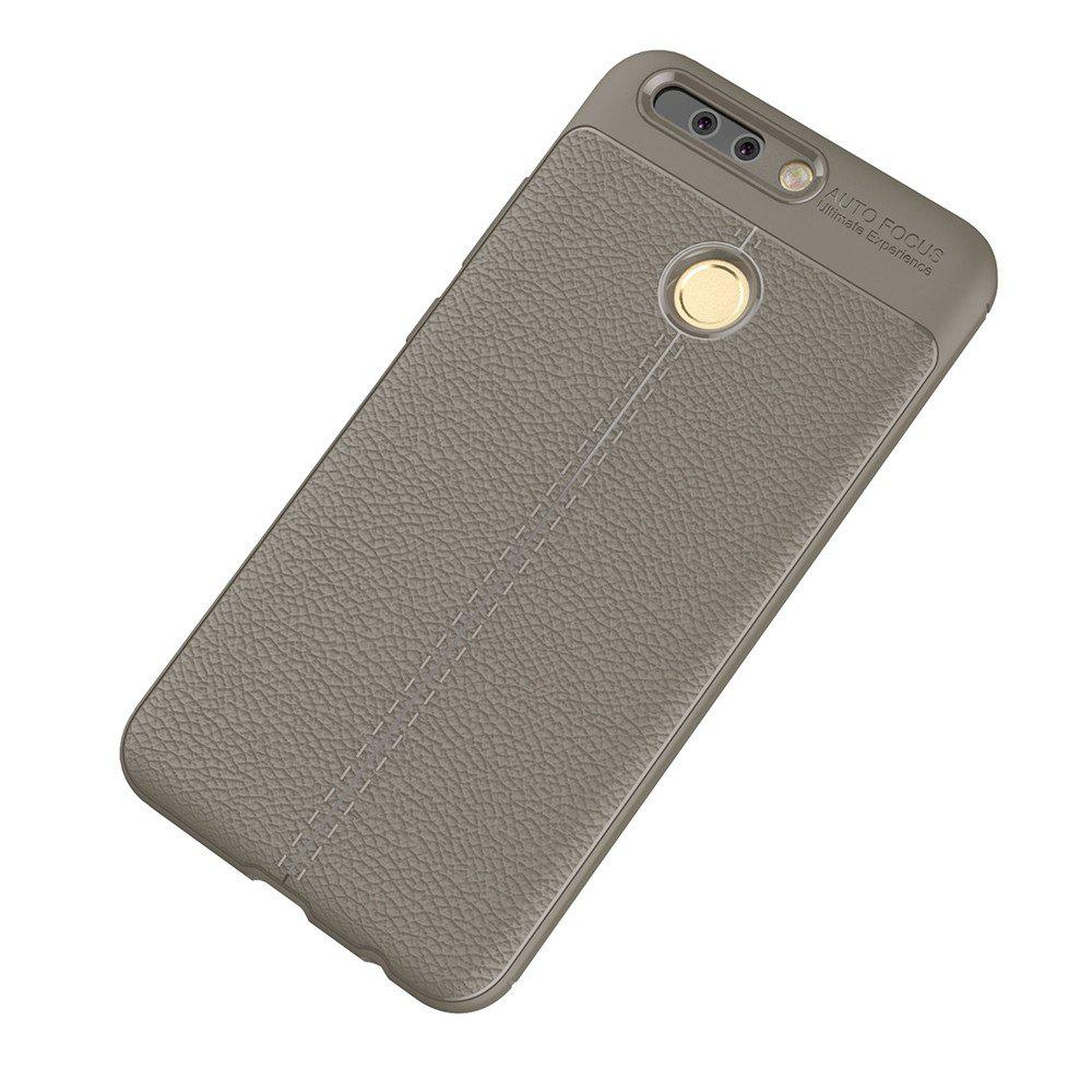Luxury Leather Business Litchi Pattern PU Soft TPU Cover Case for Huawei Honor V9 - BROWN