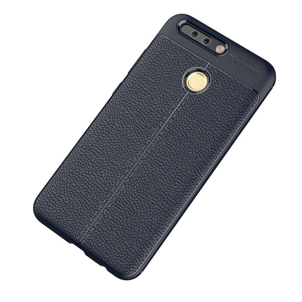 Luxury Leather Business Litchi Pattern PU Soft TPU Cover Case for Huawei Honor V9 - BLUE