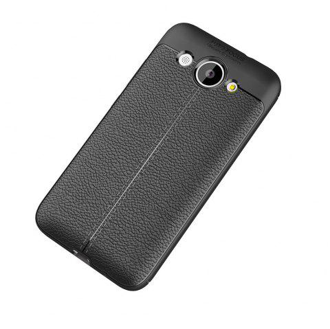 Luxury Leather Business Litchi Pattern PU Soft TPU Cover Case for Huawei Honor Y3 - BLACK