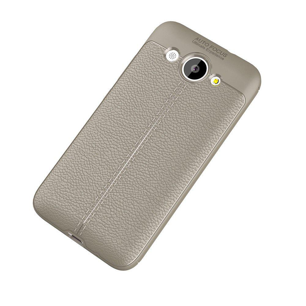 Luxury Leather Business Litchi Pattern PU Soft TPU Cover Case for Huawei Honor Y3 - BROWN