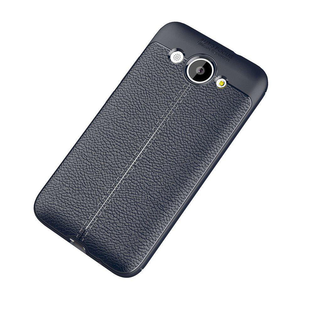 Luxury Leather Business Litchi Pattern PU Soft TPU Cover Case for Huawei Honor Y3 - BLUE
