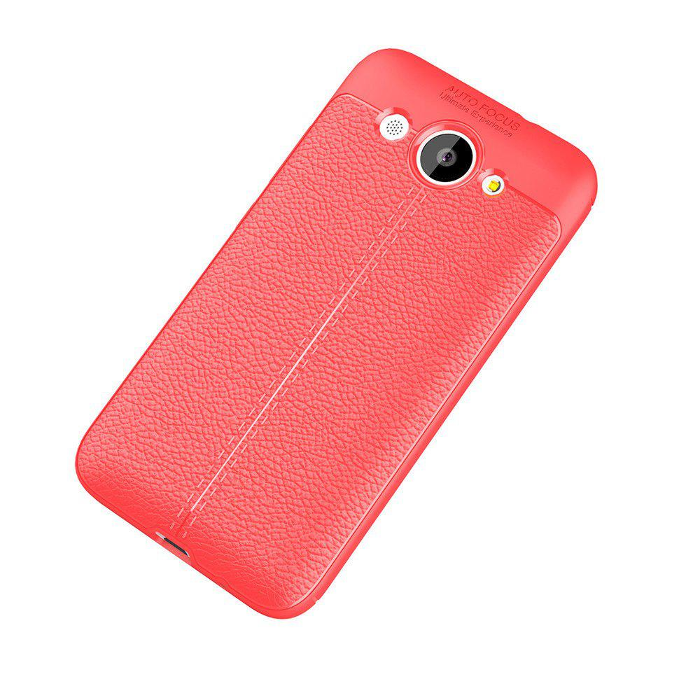Luxury Leather Business Litchi Pattern PU Soft TPU Cover Case for Huawei Honor Y3 - RED
