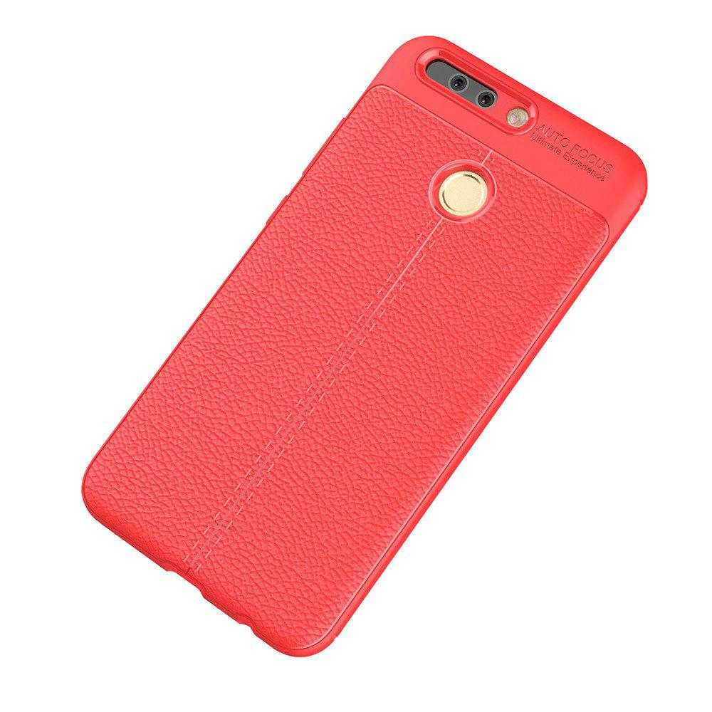 Luxury Leather Business Litchi Pattern PU Soft TPU Cover Case for Huawei P9 - RED