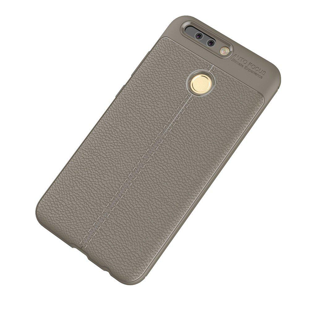 Luxury Leather Business Litchi Pattern PU Soft TPU Cover Case for Huawei P9 - BROWN