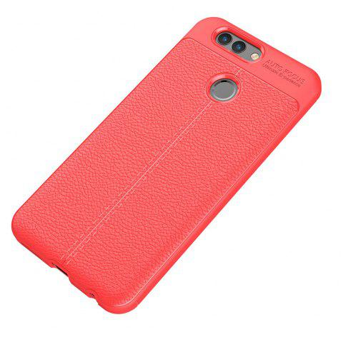 Luxury Leather Business Litchi Pattern PU Soft TPU Cover Case for Huawei Noua 2 Plus - RED