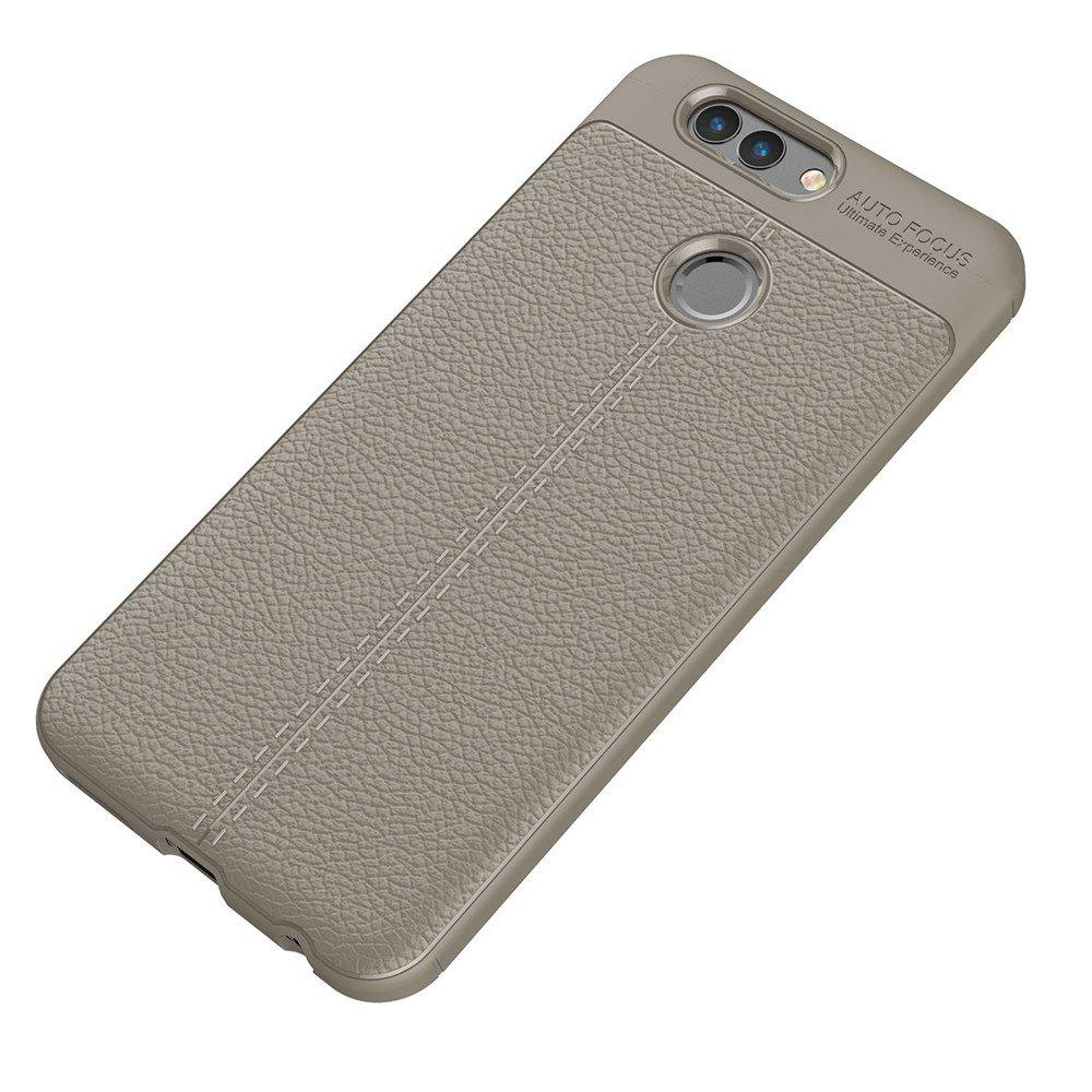 Luxury Leather Business Litchi Pattern PU Soft TPU Cover Case for Huawei Noua 2 Plus - BROWN