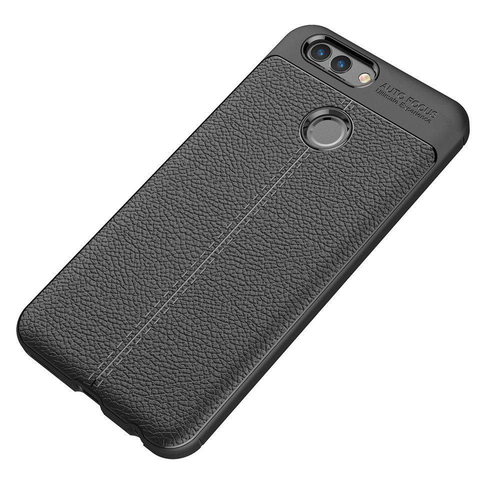 Luxury Leather Business Litchi Pattern PU Soft TPU Cover Case for Huawei Noua 2 - BLACK