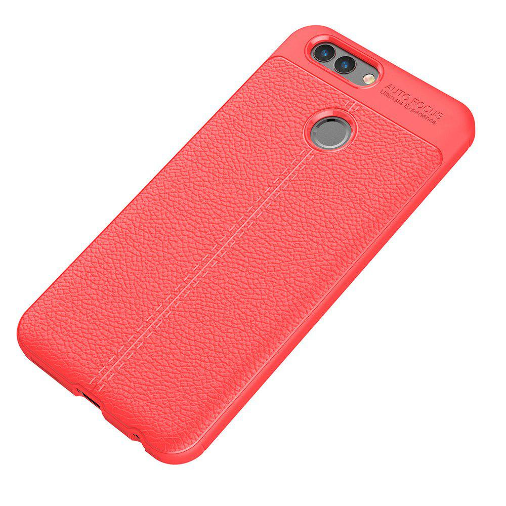 Luxury Leather Business Litchi Pattern PU Soft TPU Cover Case for Huawei Noua 2 - RED